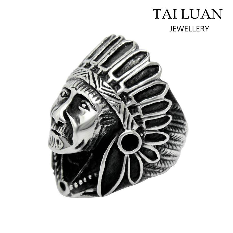 Fashion jewellery wholesale antique men's american indian skull ring