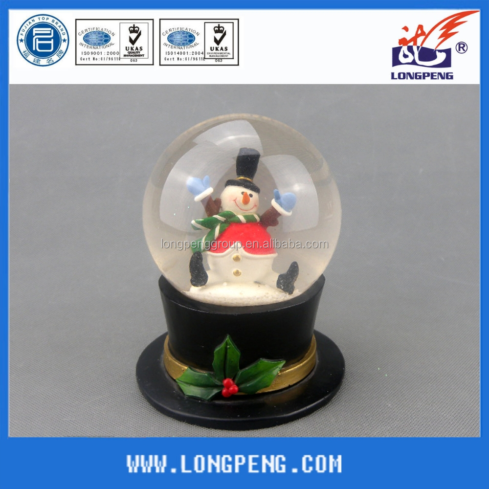 Resin Christmas Snowman Snow Globe/Water Globe/Snow Ball with Hat Base for Christmas Decoration
