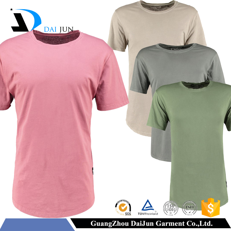 OEM Mens Pink O-Neck Short Sleeve 100% Cotton custom long size t-shirt tail