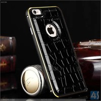 Metal bumper case and crocodile leather for Apple iPhone 6 iPhone 6 Plus