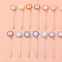 Jewelry Factory Original Muslin Colorful Rhinestone Flower Hijab Safty Pin Scarf Clip Wholesale
