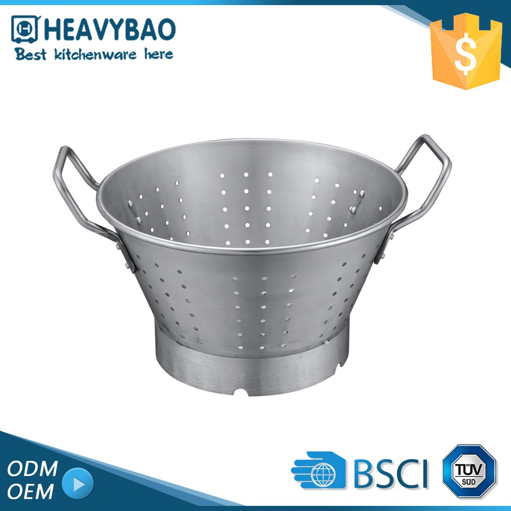 Heavybao Superior Quality Kitchen Equipments Folding Flat Colander Stainless Steel Function