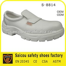 CE steel toe kitchen and food industry white no lace safety shoes factory (SC-8814)