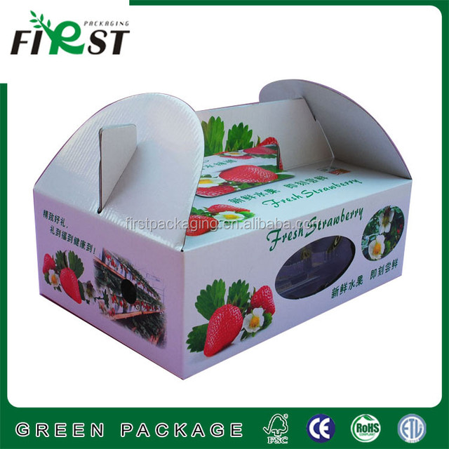 Best Price China Corrugated Paper Strawberry Fruit Box/corrugated paper fresh box with window