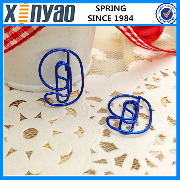 2015 NEW Arrived customer package metal color cute unique number nine-9 shape paper clips