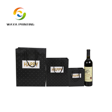Custom Black Golden Foil Luxury Paper Gift Packaging Bag For Wine