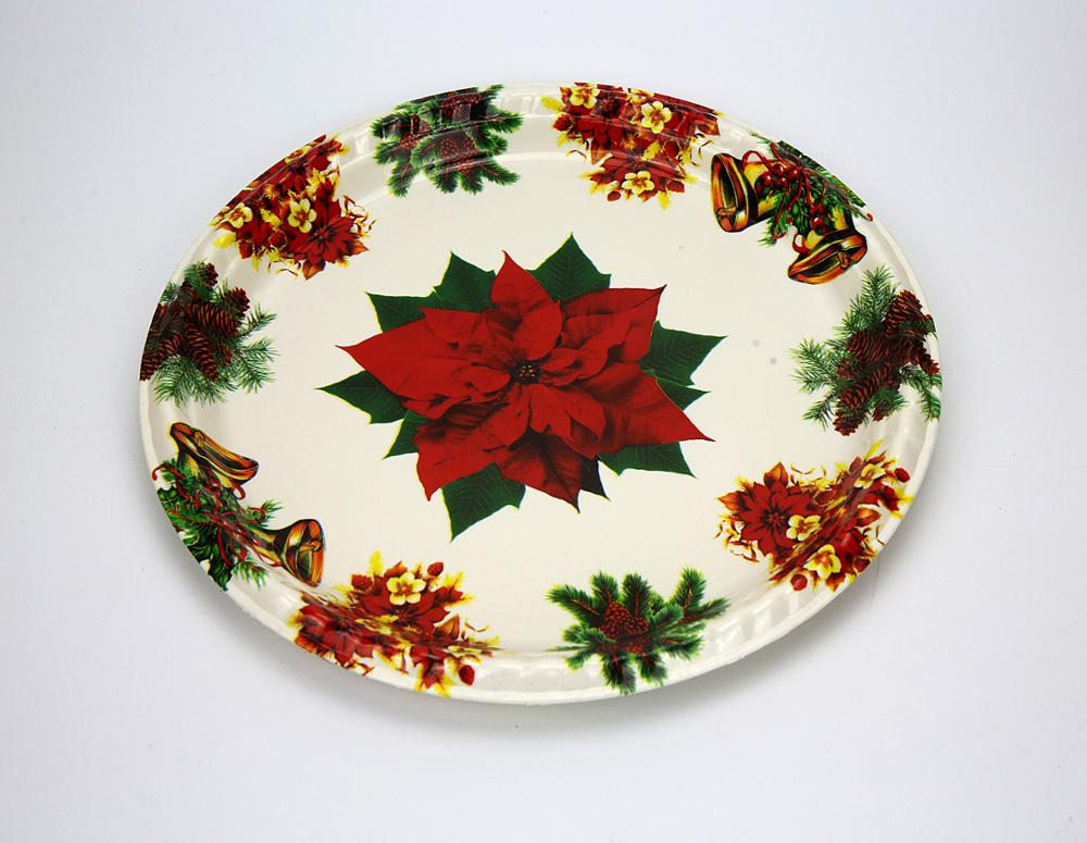 Hot sale Custom Promotion Gift Plastic Round Christmas Design Plastic Fruit Tray/Dishes