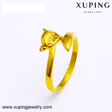 Xuping jewellery latest gold finger ring designs cute fox 24k gold plated ring
