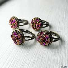 Hot selling jewelry single faux druzy stone rings