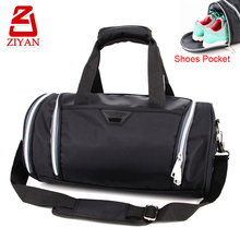 Wide U shape opening outdoor sports cylinder shaped travel bag waterproof wholesale barrel gym duffel bag with shoe pocket