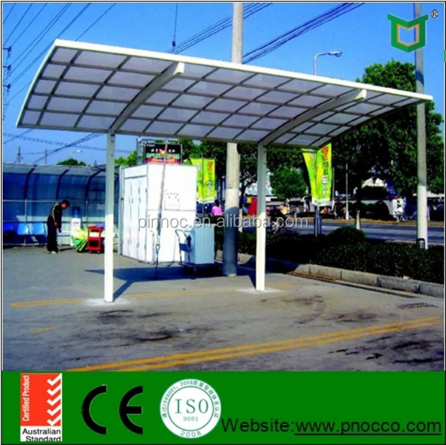 Stylish car garage design aluminum carports with PC panels manufactured with PNOC