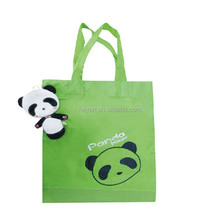 Cute animal Panda shaped promotional tote foldable shopping bags