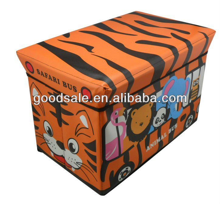 Cute and fashion pvc leather stool ottoman storage bench for toys& clothes