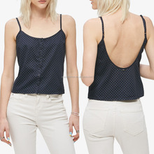 Fashion ladies wholesale top with button down front camisole with scooped back ladies woolen top & blouse