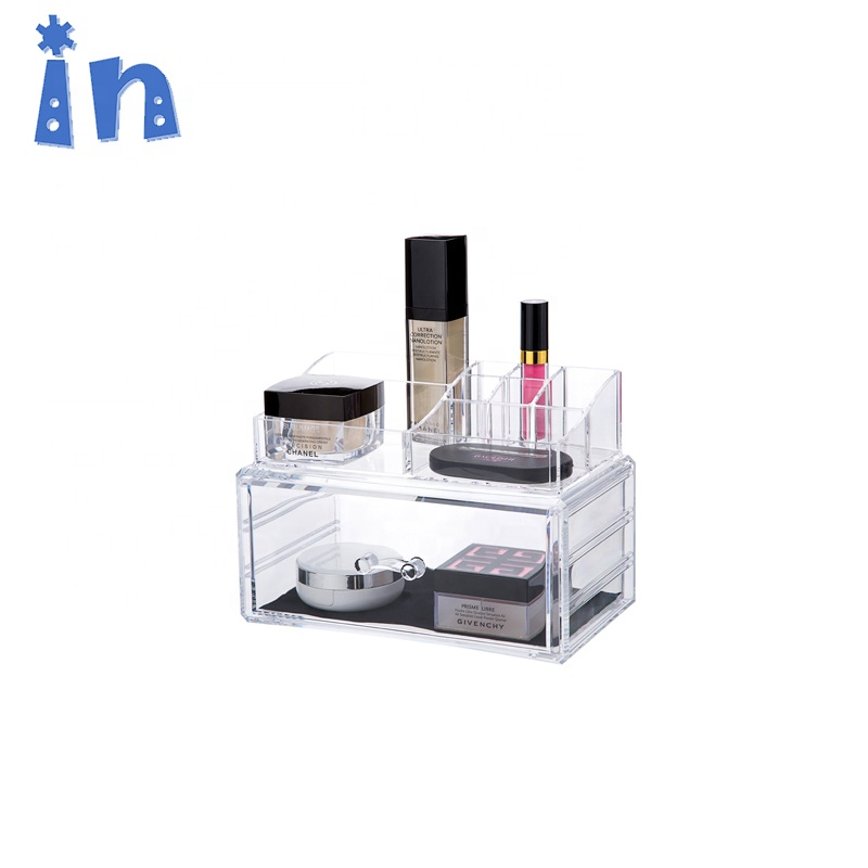 Clear Makeup Case with Drawer Cosmetic Organizer Jewelry Storage <strong>Plastic</strong>