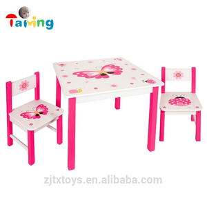Butterfly Design Wooden Set children bedroom Furniture kids cartoon study table and chair