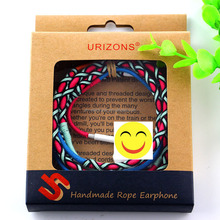 CE Rohs OEM ODM customization handmade rope earphone headset with mic for iPhone