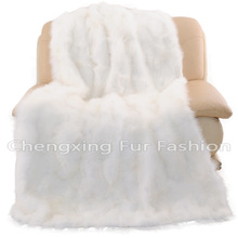 CX-D-125 White Luxury Genuine Fox Fur Patchwork Fur Rugs