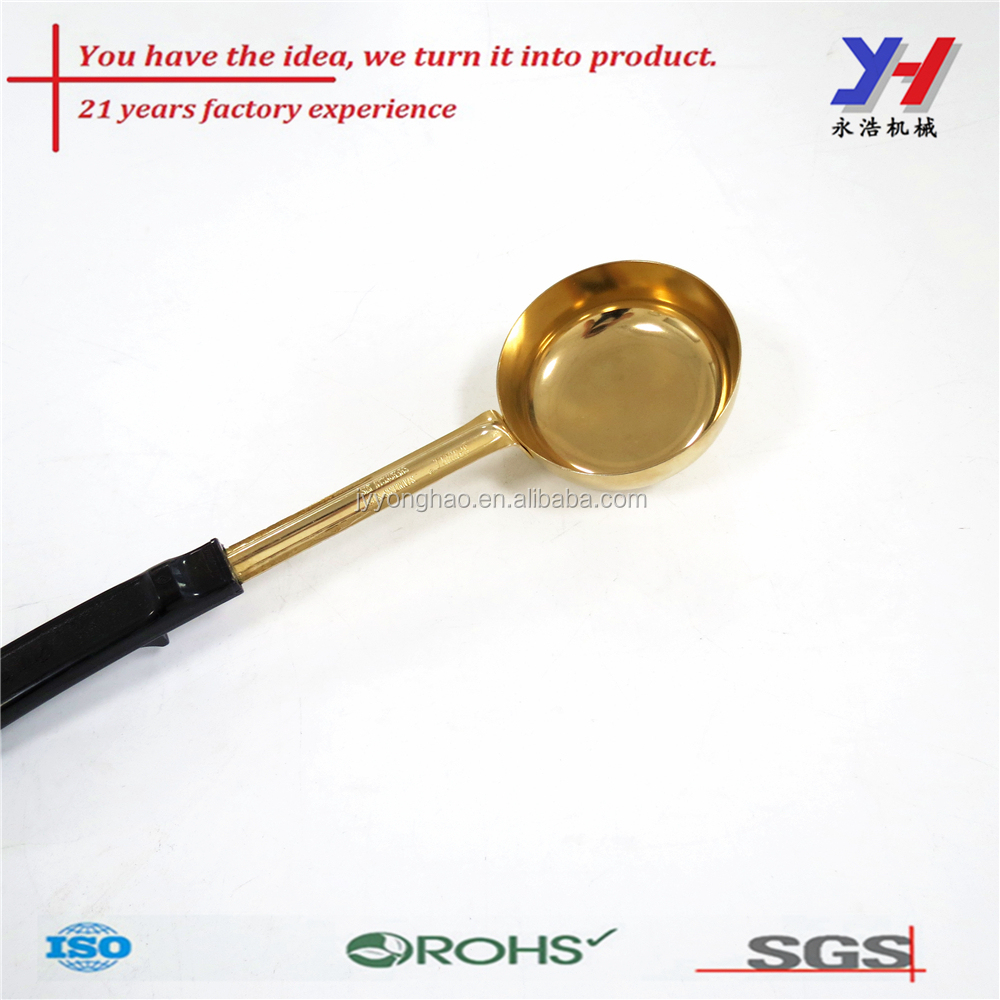 Popular design aluminum gold plated Serving cooking ladle with rubber handle