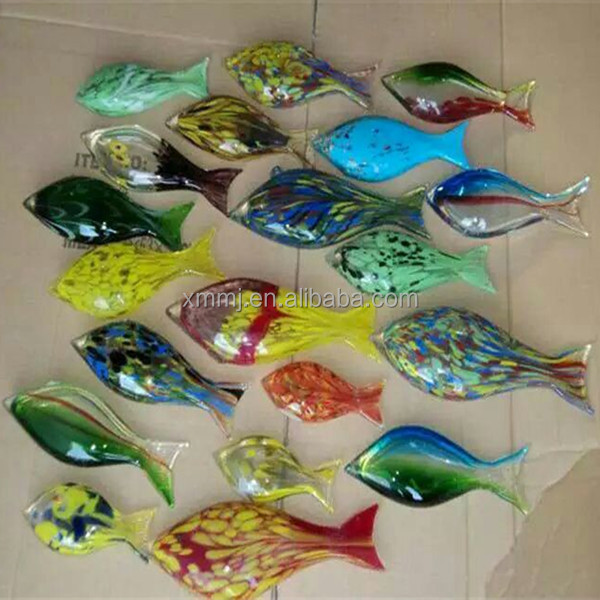 Wholesale Hand made decorative blown art murano glass fish ornaments