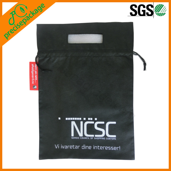 black printed cheap non woven drawstring bags with die-cut handle(PRD-15033)