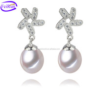 FEIRUN natural real beautiful pearl stone earring, 925 china jewelry silver, teardrop pearl necklace earring set