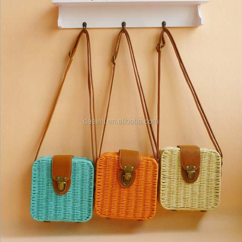 DEMIZXX646 Wholesale Custom Square Bags Pu Handle Colorful Alibaba Online In Stock New Style Women Straw Shoulder Handbags