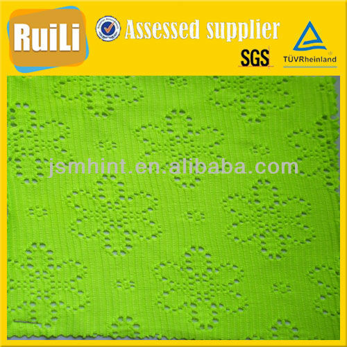 green jacquard knitted mesh jersey fabric