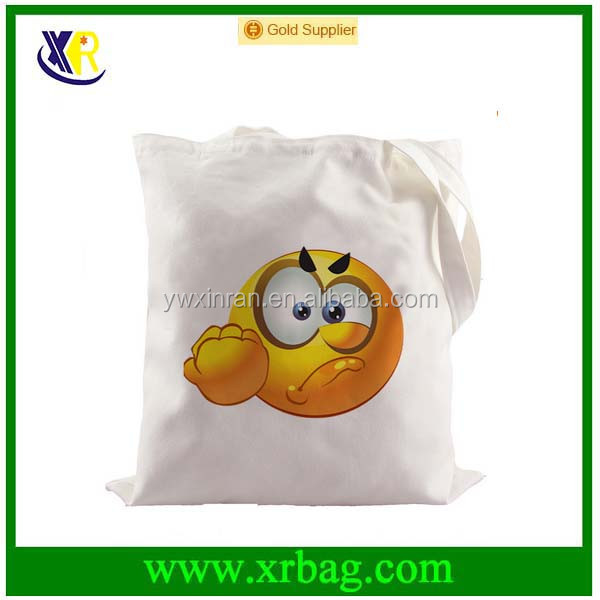 Angry Face Emoji Canvas Fabric Shopping Foldable Reusable Recycled Grocery Bags Cotton Bag Canvas Tote