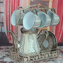 13pcs Vintage Coffee Cup Set Wedding Gifts Tea Set Afternoon Coffee and Tea Set with Metal Stand