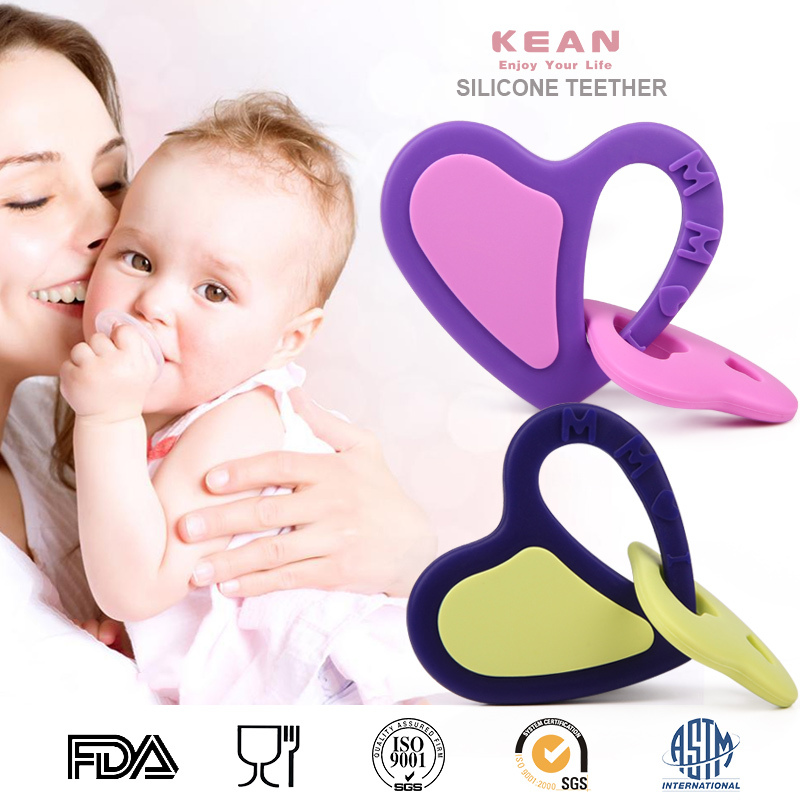 Custom design safety non-toxic colorful funny bpa free silicone first years teether