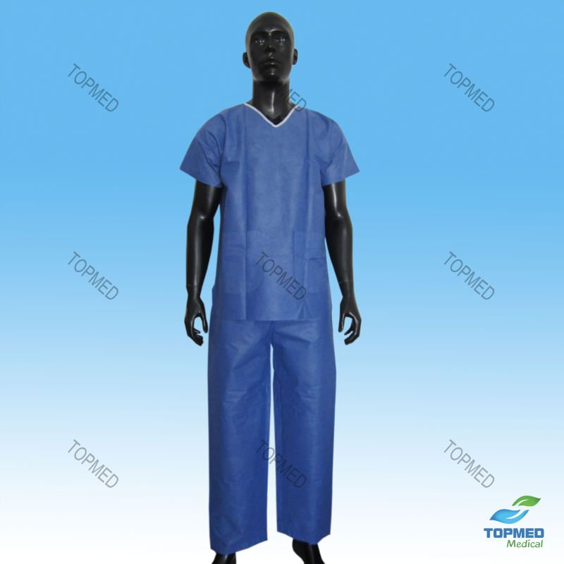 Medical Disposable Non woven hospital Surgical Blue Scrub Suits