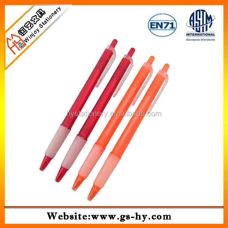 Promotional orange pen with rubber grip