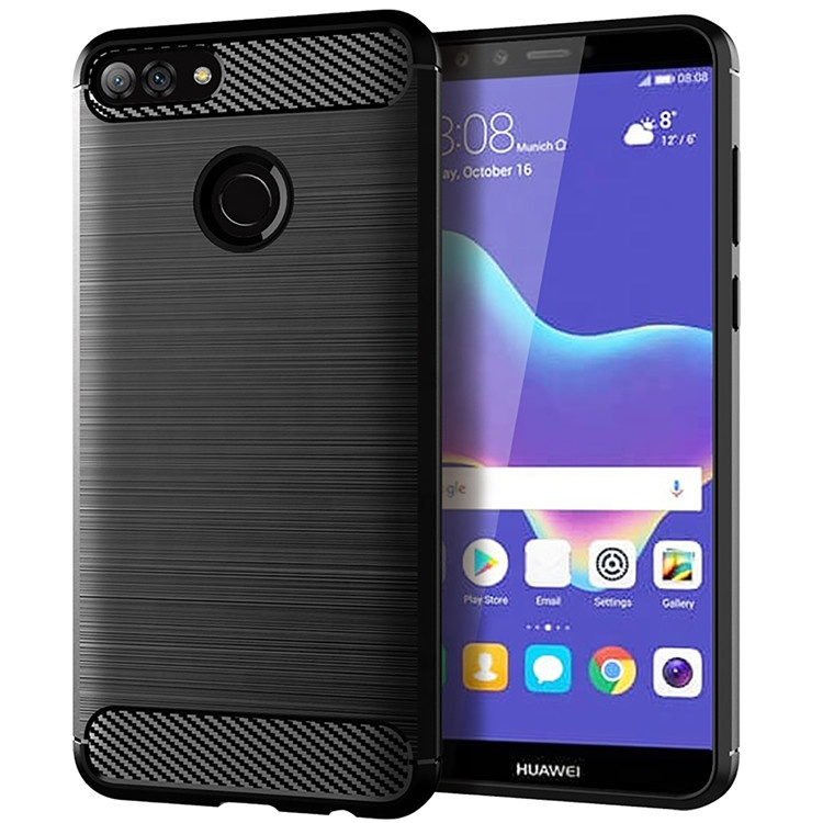 Best 잘 팔리는 미니 멀 ultra thin soft TPU carbon fiber wire drawing men 셀 폰 back cover case 대 한 Huawei Y9 2018