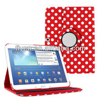 "PU Leather 360 Rotating polka dot Case Cover Skin Stand for Samsung Galaxy Tab 3 10"" P5200"