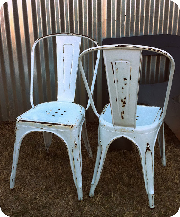 Antique rusty style marais metal dining chairs