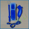 For wii controller set with silicone skin and wrist strap motion plus built in