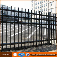 Shengwei fence - Powder coated black spear top security tubular gal steel panel