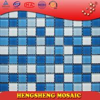 Anti-Slip Swimming Pool Bathroom Kitchen Crystal Glass Mosaic Tiles natural matted floor slate tile