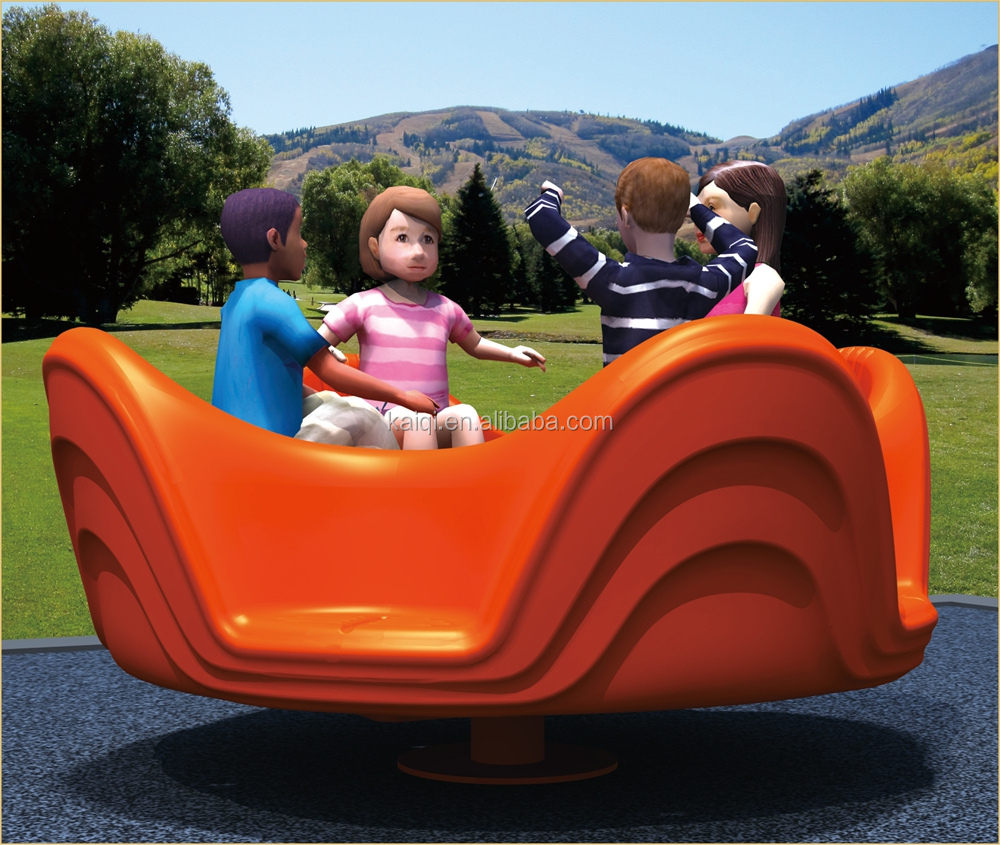 KAIQI classic kids Plastic Toys Series KQ50142D four-person turntable playground equipment for amusement park