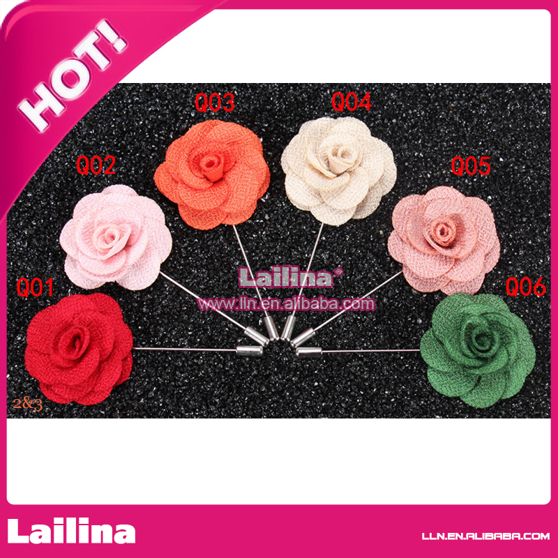 Hot Sale Classic Flower Brooch Fabric Handmade Lapel Pins Suit , Party Long Pin Wedding Rose Brooches For Men/Hijab pins