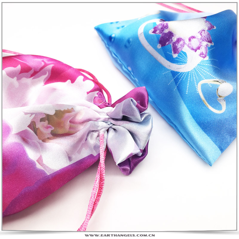 Custom Colorful Drawstring Satin Jewelry Pouch Bag with Logo