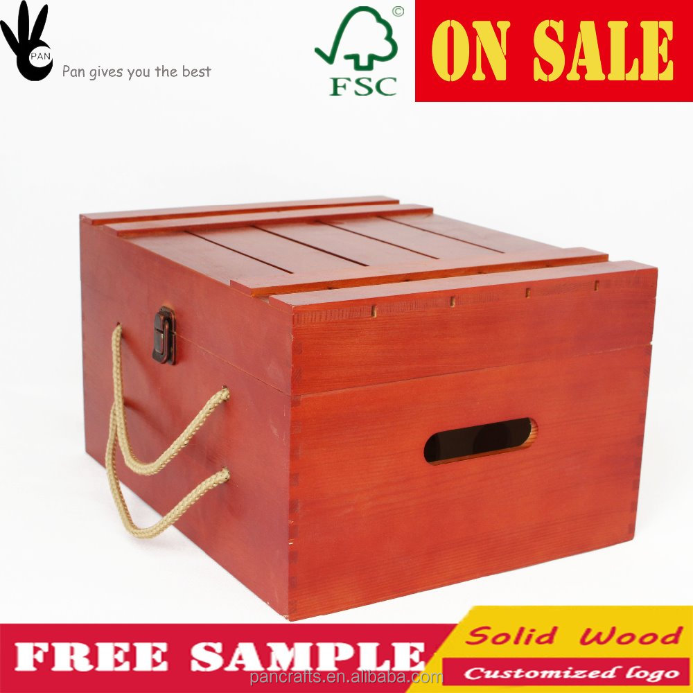 Custom printed recyclable carrier orange color 6 bottle wood wine box
