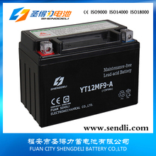 Factory offer 12V9AH Motorcycle MF Spiral Cell Lead Acid Battery