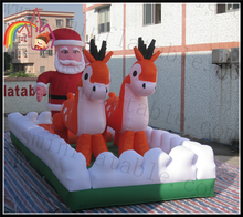 Christmas yard decoration inflatable sled inflatable santa clause and deer