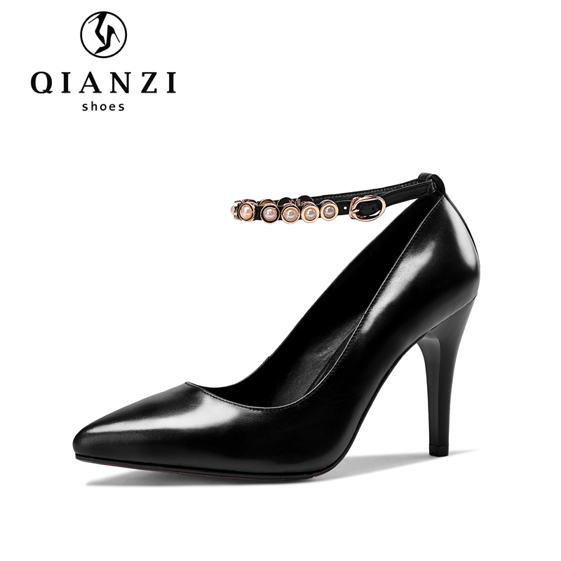 5365 Ankle strap black and white dress shoes womens sale girls high heels