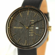 Shijin watch custom logo big round wood watches men leather watches wooden