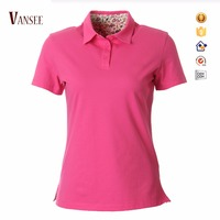 High quality 100% cotton slim fit plain pima polo shirt for women