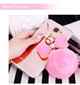 Luxury Diamond Mirror Soft TPU With Fur Ball Tassel Phone Case Cover For Samsung Galaxy S6 Edge Plus S7 edge S8 S8 Plus J7 A8