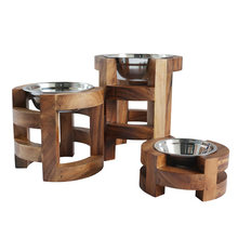 Home decoration Pet accessory Acacia wood Pet feeder raised dog bowl
